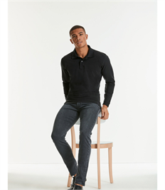RUSSELL L/SLEEVE COTTON PIQUE POLO