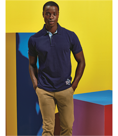 ASQUITH AND FOX COTTON POLO WITH OXFORD INSERT