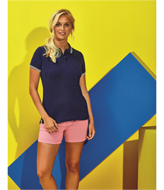 ASQUITH AND FOX LADIES CLASSIC FIT TIPPED POLO SHIRT