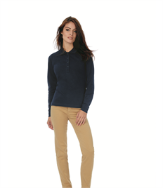B&C LADIES SAFRAN LONG SLEEVE PURE POLO SHIRT