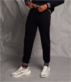 FRONT ROW JOGGERS WITH STRIPED CUFFS