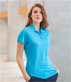 HENBURY LADIES STRETCH POLO SHIRT WITH WICK FINISH