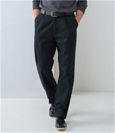 HENBURY TEFLON COATED TWIN PLEAT CHINO TROUSERS