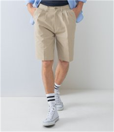 TEFLON COATED PLEAT FRONTED CHINO SHORTS