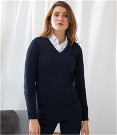 HENBURY LADIES 12GG V NECK JUMPER