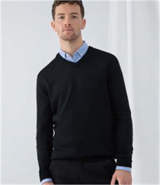 HENBURY CASHMERE TOUCH ACRYLIC V NECK JUMPER