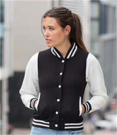 JUST HOODS BY AWDIS GIRLIE VARSITY JACKET