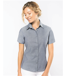 KARIBAN LADIES SHORT SLEEVE OXFORD SHIRT