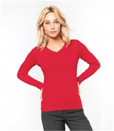 KARIBAN LADIES V NECK JUMPER