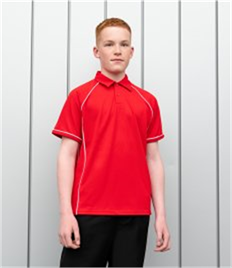 FINDEN & HALES KIDS PERFORMANCE PIPED POLO