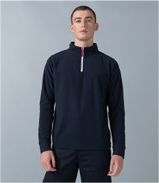 1/4 ZIP PIPED FLEECE TOP