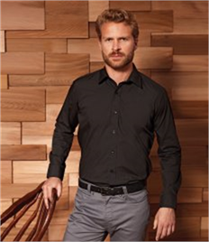 MENS LONG SLEEVE FITTED POPLIN SHIRT