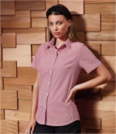 PREMIER LADIES GINGHAM MICROCHECK SHORT SLEEVE SHIRT