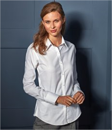 PREMIER LADIES LONG SLEEVE SIGNATURE OXFORD BLOUSE