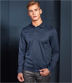 PREMIER LONG SLEEVE COOLCHECKER PIQUE POLO SHIRT
