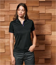 PREMIER LADIES CONTRAST TIPPED COOLCHECKER POLO SHIRT