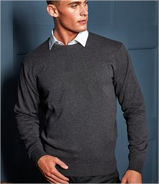 PREMIER MENS CREW NECK COTTON RICH KNITTED SWEATER