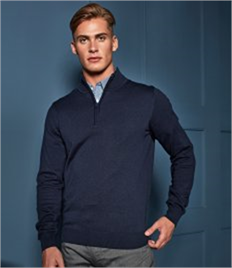 PREMIER MENS 1/4 ZIP KNITTED SWEATER