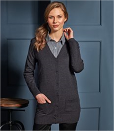 PREMIER WORKWEAR LADIES LONG LINE KNITTED CARDI
